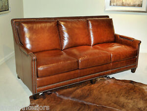 Image Is Loading Beautiful NEW ART DECO Sofa Antiqued Butterscotch GENUINE