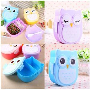 Portable Cartoon Owl Lunch Box Food Safe Microwave Storage Container For Kids Kitchen Dining Bar Kitchen Storage Organization