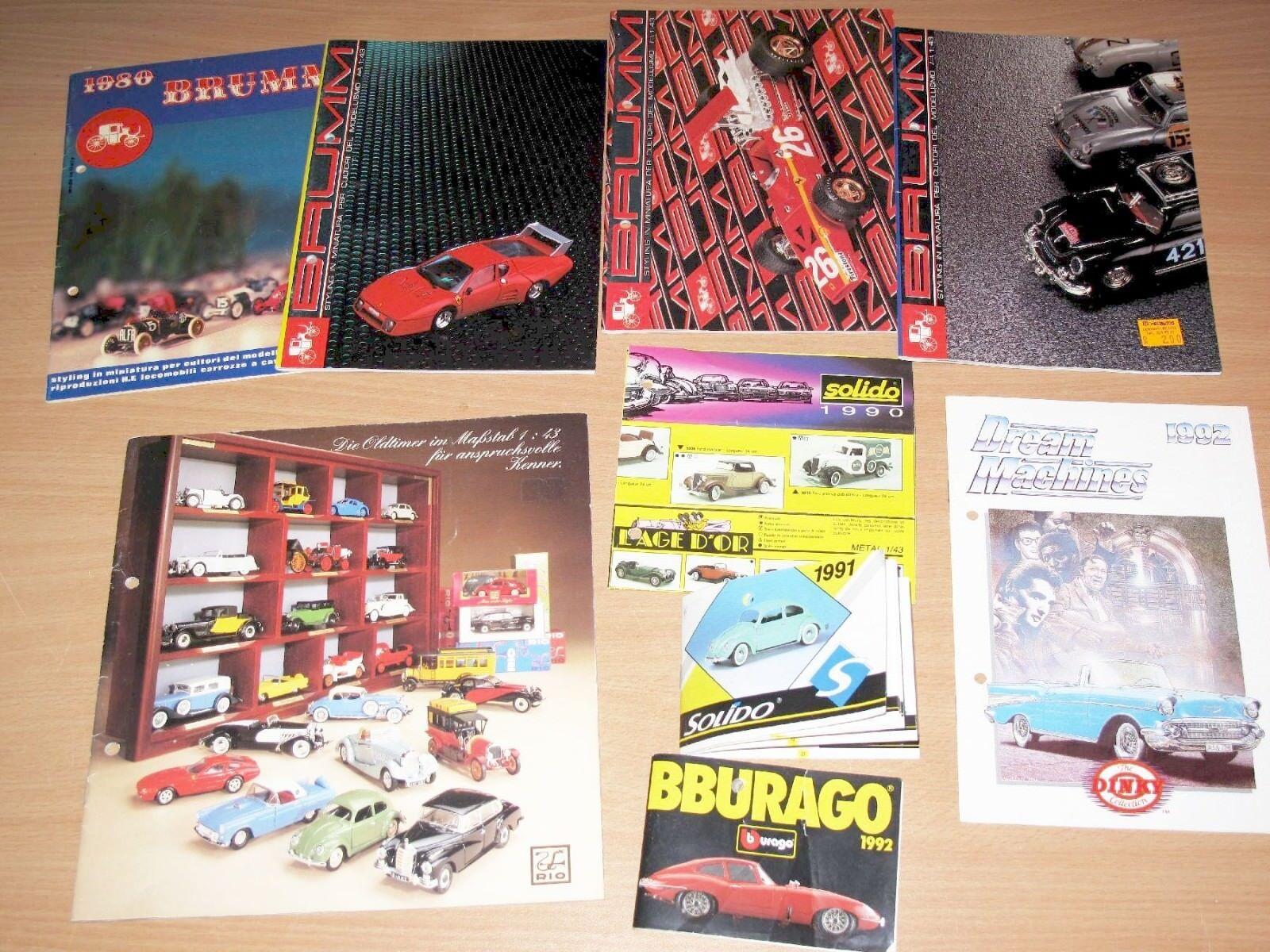 9 x Car Models Brochures Catalogues from Brumm Dinky Solido Bburago - Top RARE