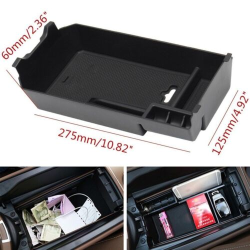 Black ABS Armrest Storage Box For  W205 C180 GLC Central Console Tray Bin HOT