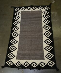 Image Is Loading Navajo Indian Rug Double Saddle Blanket Mid 20th