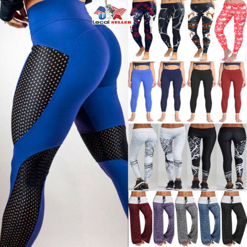 Gym Sports Workout Yoga Womens M501 Trouser Fitness Run Leggings Stretchy Pants PnqBEwEC