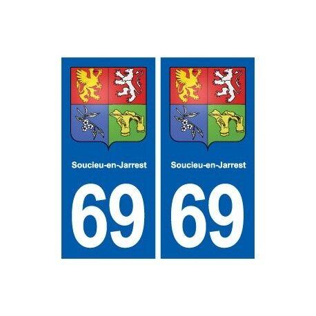 69 Soucieu-en-Jarrest blason autocollant plaque stickers ville droits
