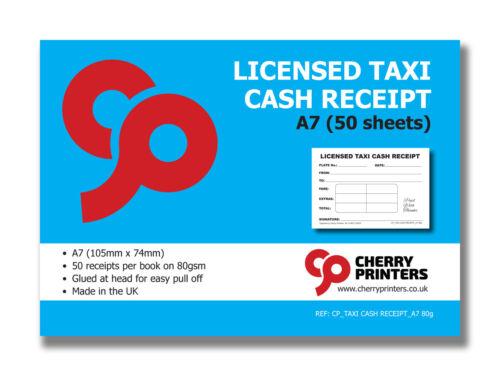 Cherry Licensed Taxi Cash Receipt Pad A7 50 Pages x10 Pack Bundle 105mm x 74mm
