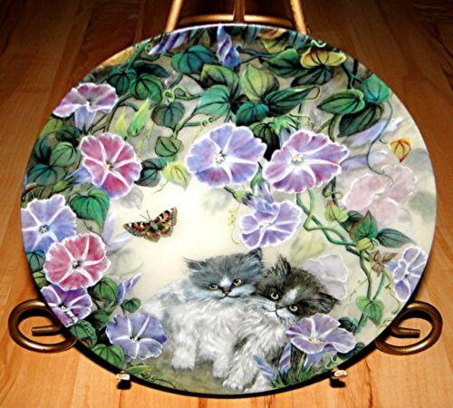 Petal Pals MORNING MELODY Persian Cat Kitten Bradford Exchange Lily Chang Plate