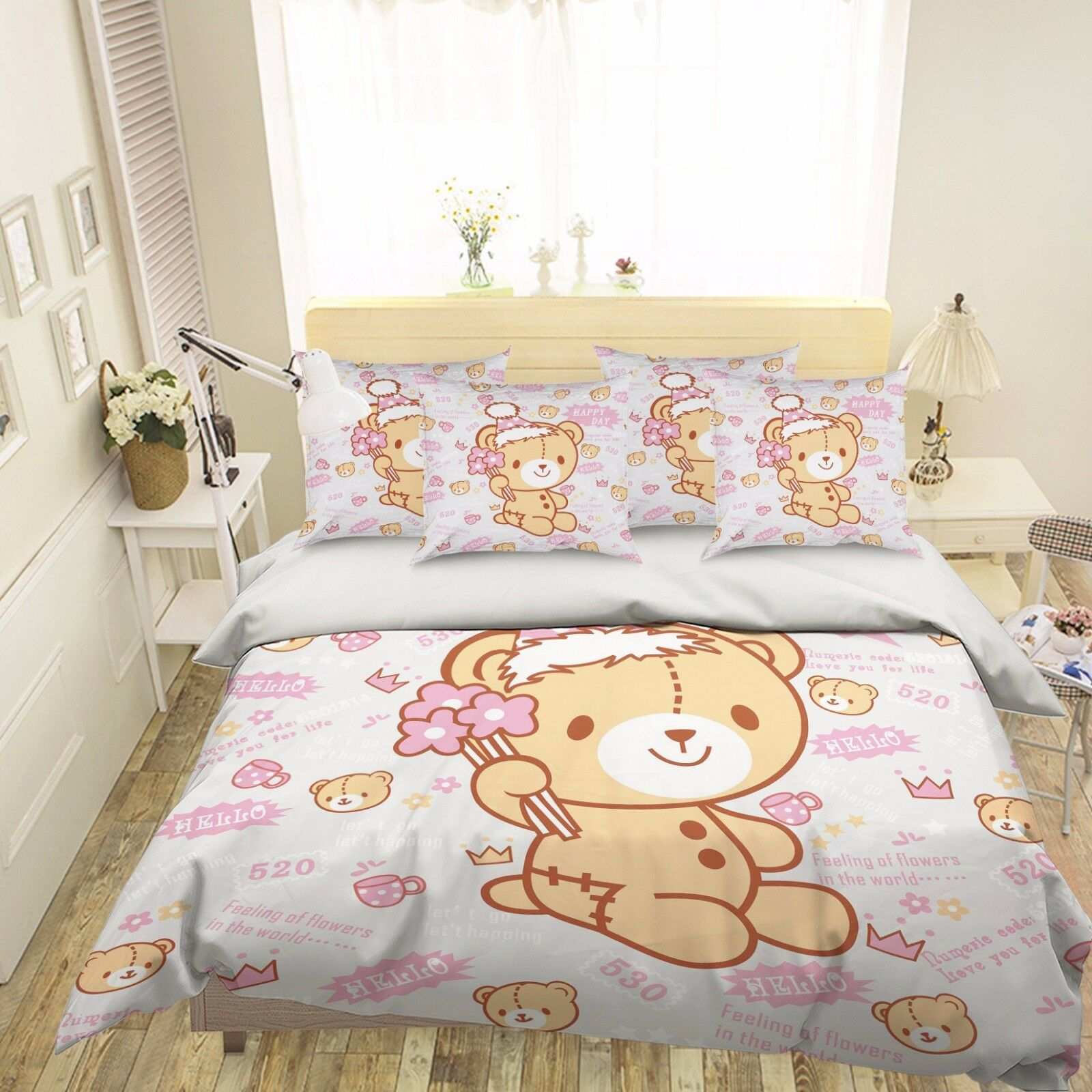 3D Cute Little Bear 52 Bed Pillowcases Quilt Duvet Cover Set Single Queen CA