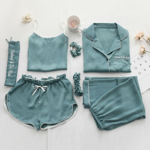 Women/'s Silk Satin Pajama Sets Sleepwear Nightwear Pyjamas Soft 7-piece set New