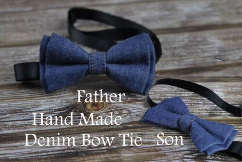 Father Son Match Handmade Denim Navy Blue Solid Bow Tie Bowtie Wedding Party