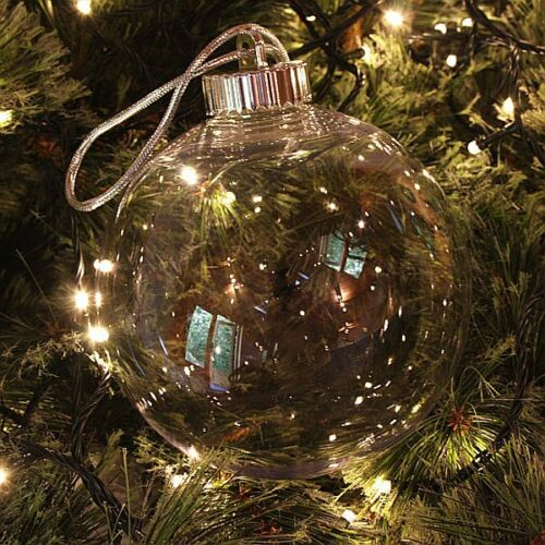 """Craft  Christmas 150mm Clear Seamless Plastic /""""Glass Style/"""" Baubles Screw top"""