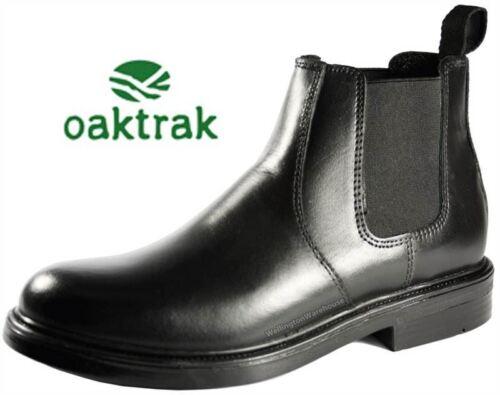Oaktrak Walton Black Pull On Chelsea Leather Ankle Boots Boys