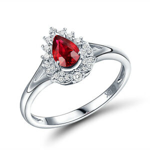 18K-White-Gold-4x6mm-Pear-Ruby-amp-Diamond-Engagment-Wedding-Fine-Gemstone-Ring