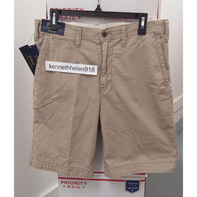29202aac0 POLO RALPH LAUREN MENS PONY LOGO RELAXED-FIT CHINO SHORTS KHAKI SIZE 32