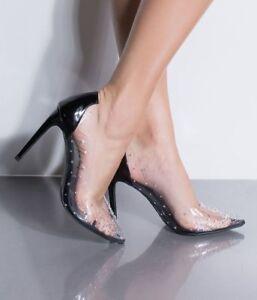 Black-Clear-High-Heel-Rhinestone-Pump-Stiletto-Pointed-Toe-Evening-Sandals