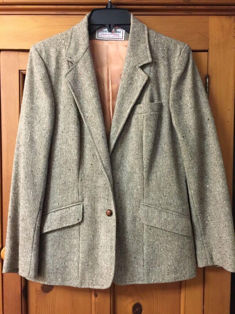 Casa De Lana Wool Blazer Light Brown Tweed  Woman Sz 11 12 EUC Extra Buttons