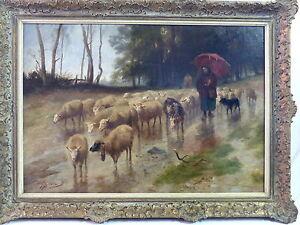 Olgemaelde-Richard-Beavis-1824-1896-England-Schafherde-Schafe-Ziegen