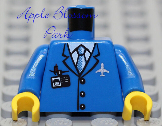 NEW Lego Male Boy Minifig TORSO w//Dark Blue Striped Suit Jacket White Shirt Tie