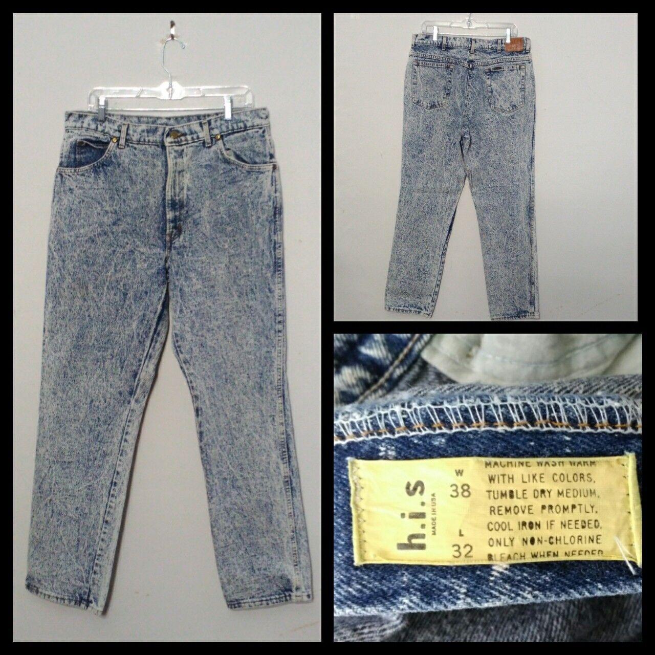 H.I.s. bluees 1980's Jeans Men's Measured 34X32, Tag 38X32, Acidwash Inv F4544