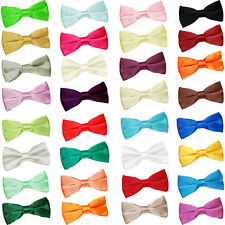 Mens Boys Bow Tie Satin Solid Plain Wedding Adjustable Pretied by DQT