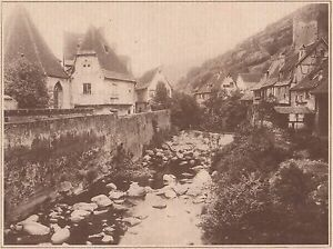 G2284-France-Kaysersberg-Vieilles-maisons-Stampa-d-039-epoca-1930-old-print