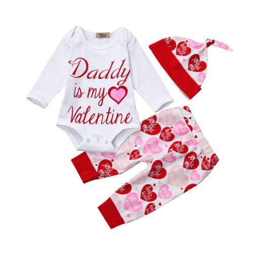 Bébé nourrisson fille barboteuse Tops+pantalon+chapeau Valentin Outfit Set