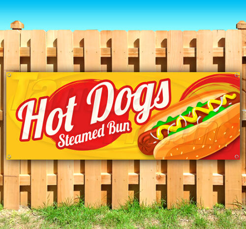 HOT DOGS STEAMED BUN Advertising Vinyl Banner Flag Sign Many Sizes Available USA