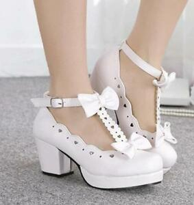 Cosplay Womens Mary Janes Lolita Block Heels Bowknot Platfrom Ankle Strap Shoes