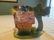 Ceramic Faux Paw Productions Cat House with mice & blue birds Tea Pot