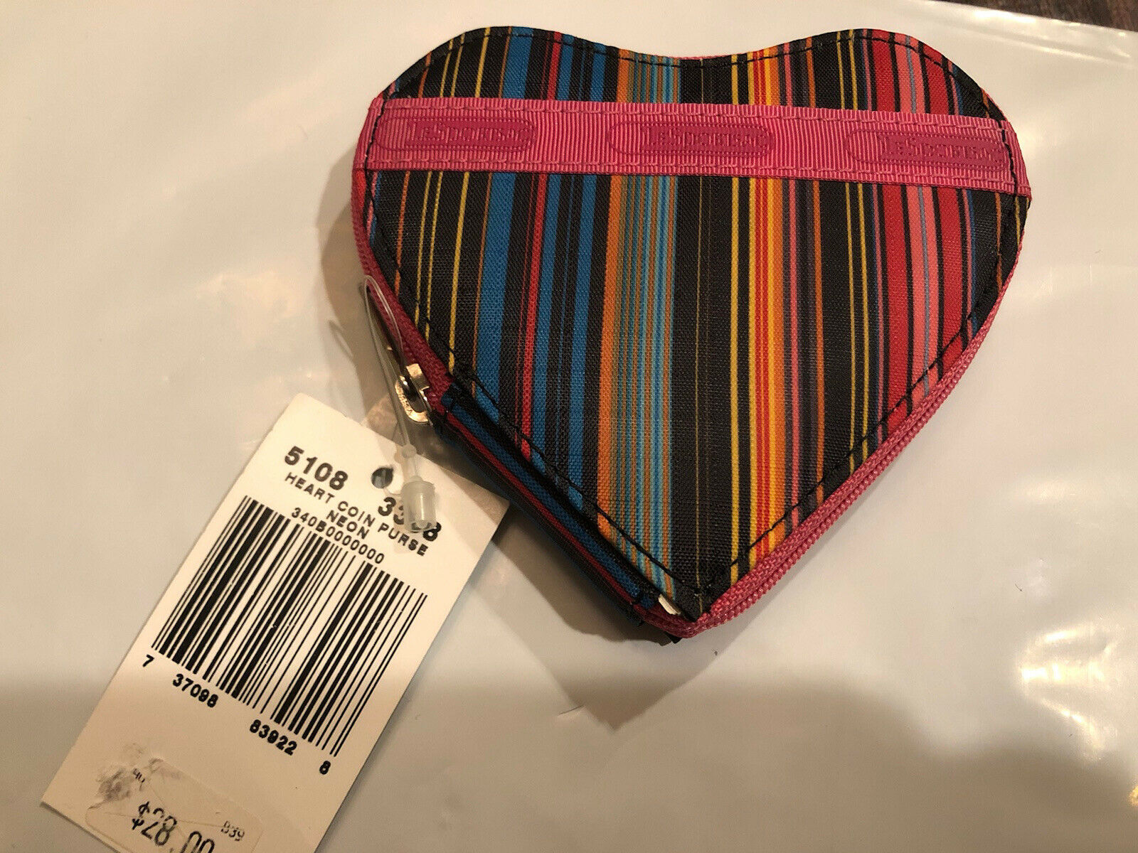 LE SPORTSAC Heart Change Purse- NWT with Gift Box- Colorful Stripes