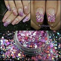 Bling Glitter Mix Holographic & Iridescent Uk seller nail art confetti gel
