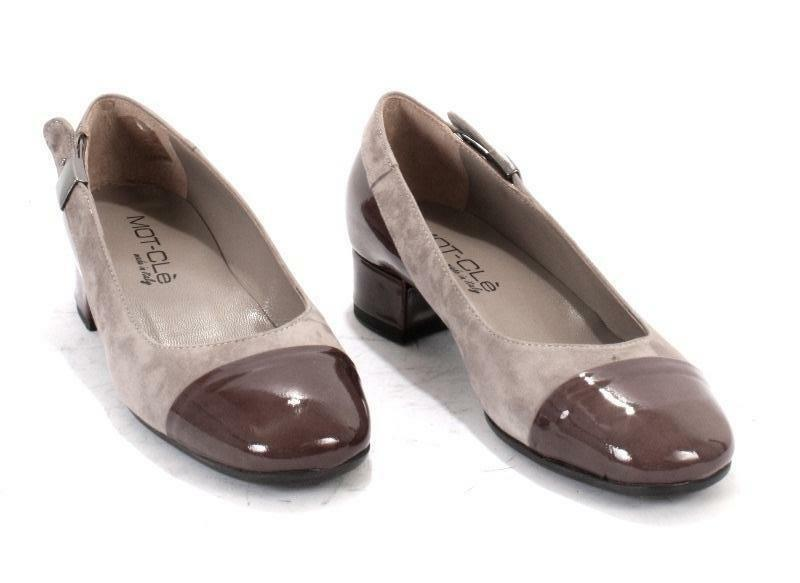 MOT-CLe 5463 5463 5463 Taupe Patent Leather   Suede Low Heel Pumps 34   US 4 66d099