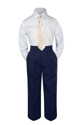 23 Color 3 pc Navy Set Necktie Shirt Pants Boys Baby Toddler Kid Formal Suit S-7