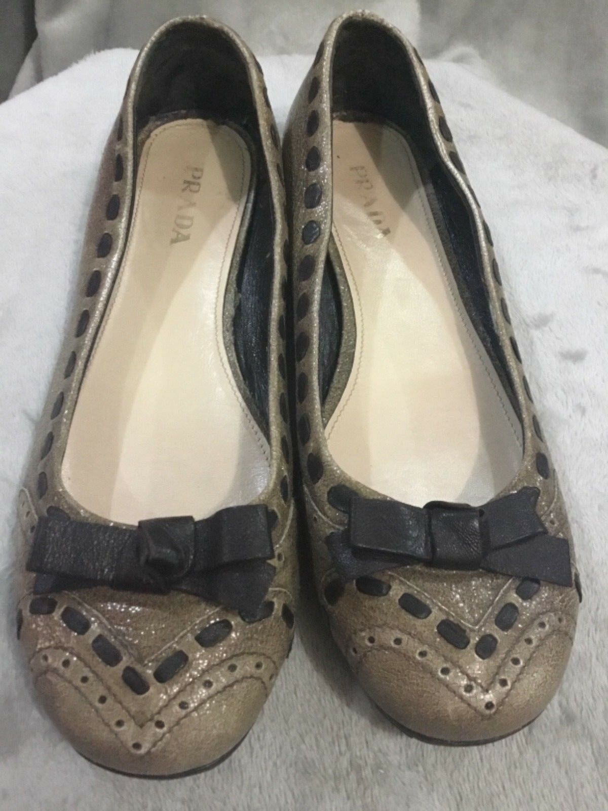 Prada Brown Brown Brown Ballerina Ballet Flats Round Toe with black Bow Size 41 f1f2f5