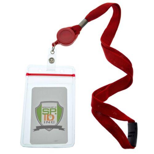5 Pack Badge Reel Lanyards with Ziplock Badge Holders by Specialist ID