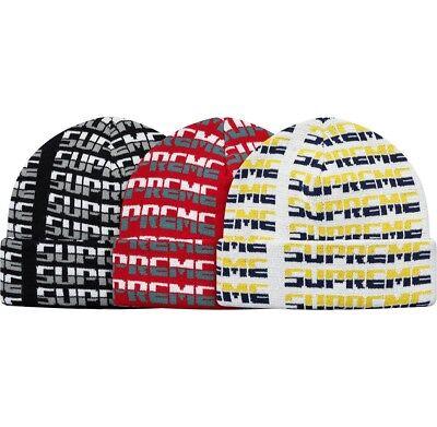 fe3d400a0 SUPREME Repeat Beanie Red Black White box logo camp cap tnf F/W 17 | eBay