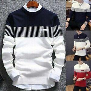 Knitwear-Tops-Men-039-s-Strip-Coat-Casual-Warm-Pullover-Neck-Jumper-Sweater-Round