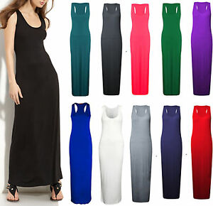 c4c9c8c0c6 Women Ladies Jersey Long Summer Vest Racer Muscle Back Maxi Dress ...