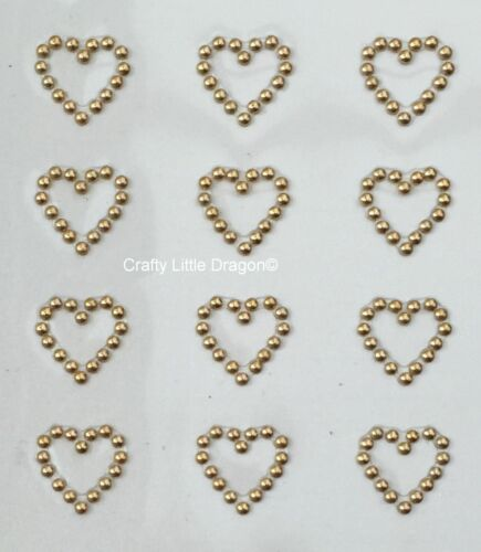 24 x 13mm Hearts ANTIQUE METALLIC GOLD Stick on Self Adhesive GEMS WEDDINGS