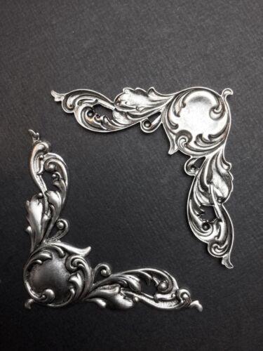 23574         2 Pc Matte Silver Oxidized Victorian Corner Brass Jewelry Finding
