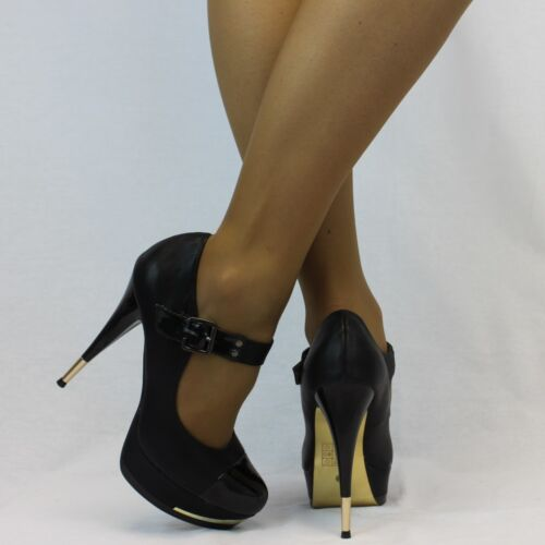 Party High Heel Platform Faux Leather /& Gold Trim Buckle Shoes Size UK 5-7 992