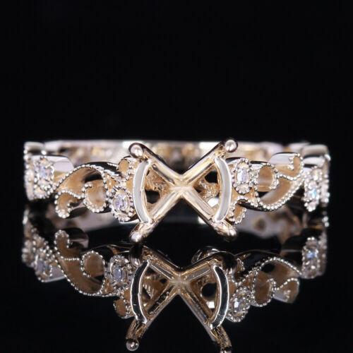 Solid 14K Yellow Gold Wedding Engagement Semi Mount 7-8mm Round Cut Ring Diamond