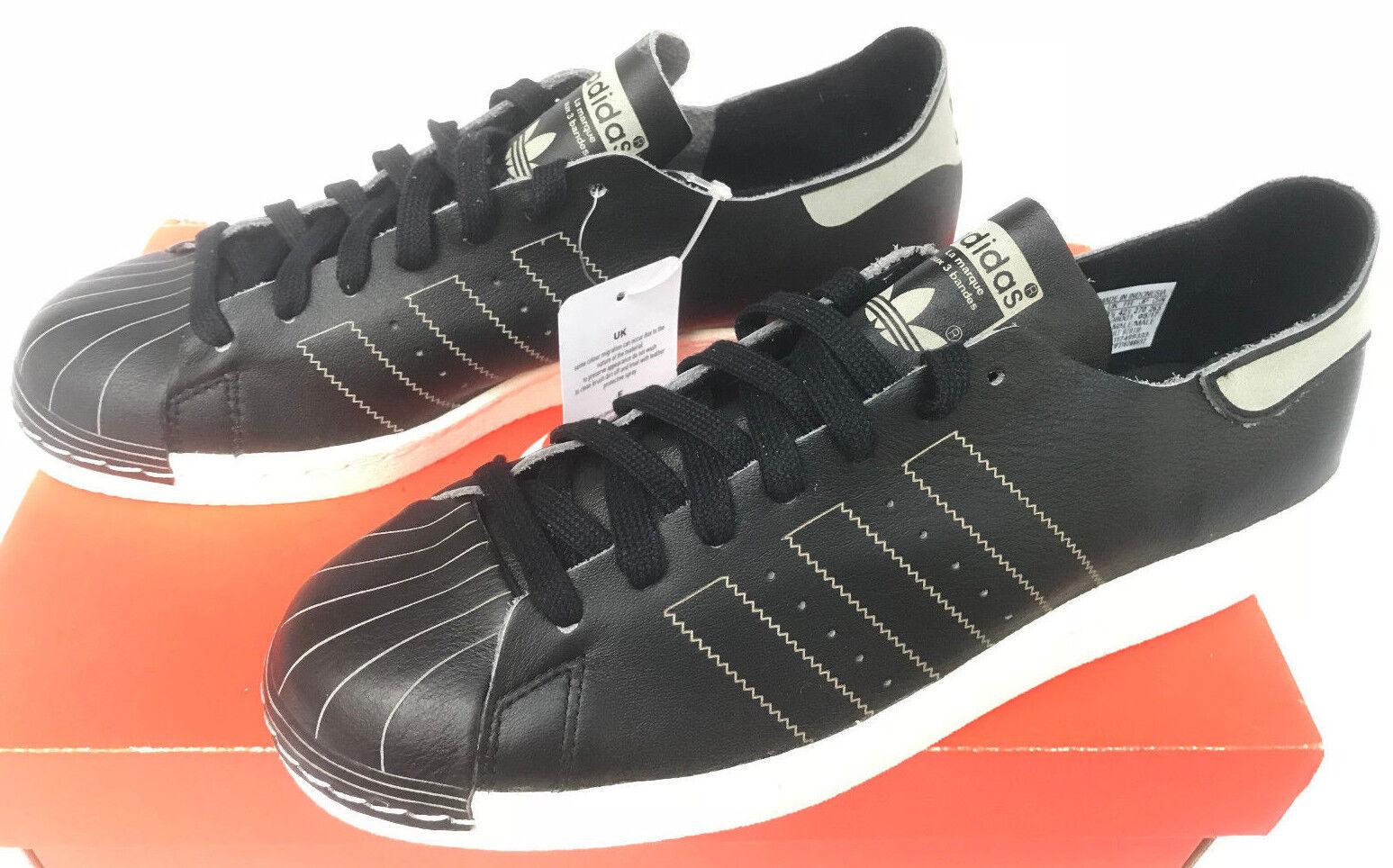 Adidas Superstar 80s Decon BZ0110 Core Negro De Cuero Zapatos De Negro Baloncesto Para Hombres 9 b8f02f