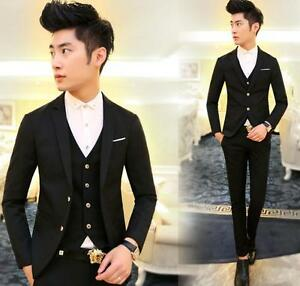 3 pieces men suits one button slim fit wedding party Business jacket pants& vest