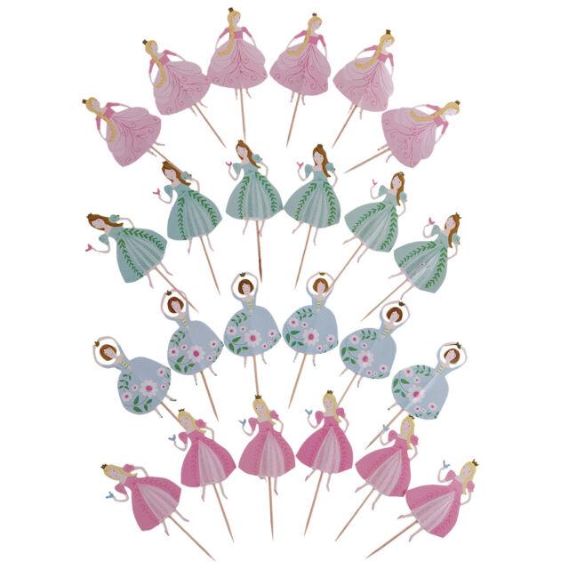 24pcs Mixed Dancing Princess Filles gâteau Toppers Cupcake Picks Parti decora