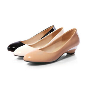 1b0c7931781 Details about Women s Black White Nude Patent Leather Round Toe Pumps Low  Heel Plus Size Shoes
