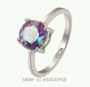 Womens-Girls-Jewelry-10KT-White-Gold-Filled-Silver-Ring-Rainbow-Topaz-Size-7