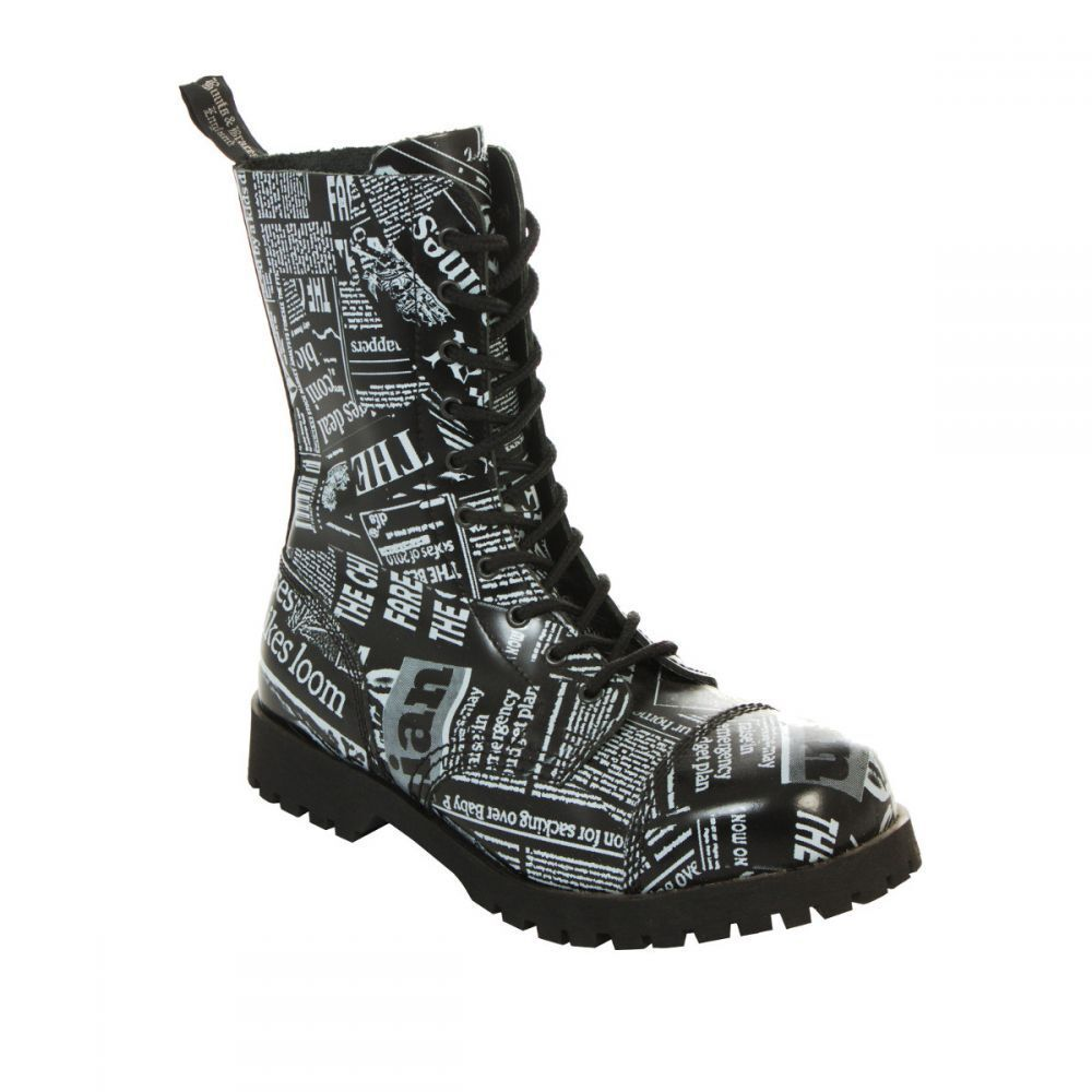 Boots & Braces 10-Loch Stiefel Newspaper-Stahlkappe-Boots-Gothic-Punkrock