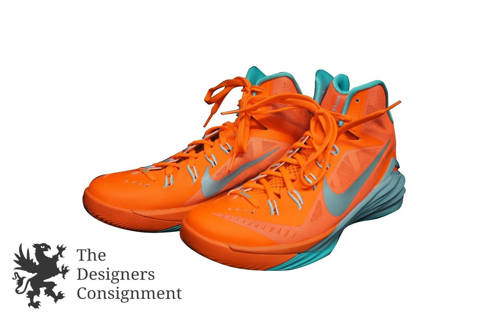 Nike Lunarlon Hyperdunk Zoom Sneakers Basketball shoes Neon orange Turquoise