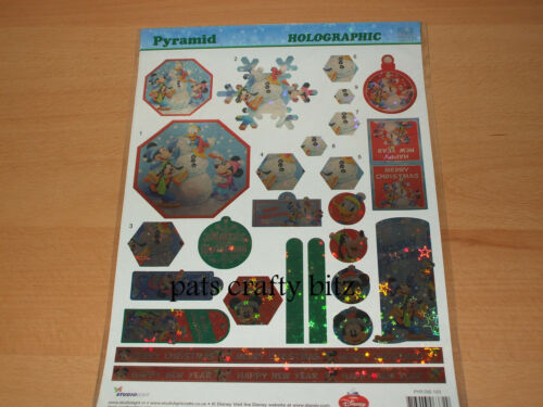 A4 Non Die Cut Decoupage Sheet Christmas Holographic Disney Various Designs