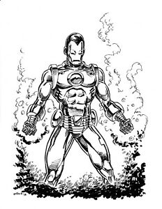 Details about Original Art Iron Man Fan Art By Pollard Pen And Ink Drawing