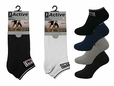 12 Mens Active Sport Logo Cotton Rich Trainer Liner Socks / Optional / Uk 6-11